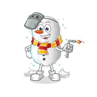 Dibujos animados de mascota de soldador de muñeco de nieve