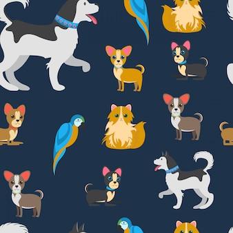 Dibujos animados de mascotas vector de color plano sin patrón