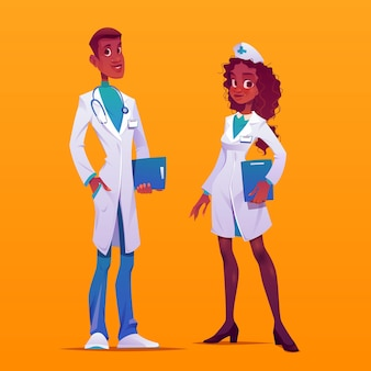 Dibujos animados de médicos y enfermeras con abrigos