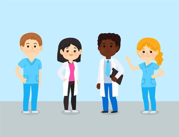 Dibujos animados de médicos y enfermeras con equipo.