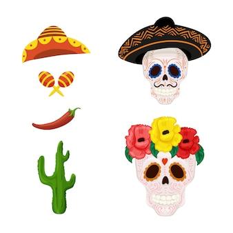 Dibujos animados mexicanos ilustración de calavera de azúcar y objetos para el cinco de mayo