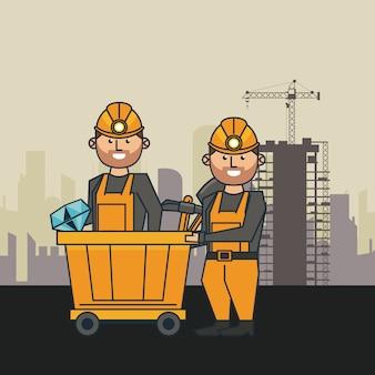 Dibujos animados de minería y trabajadores