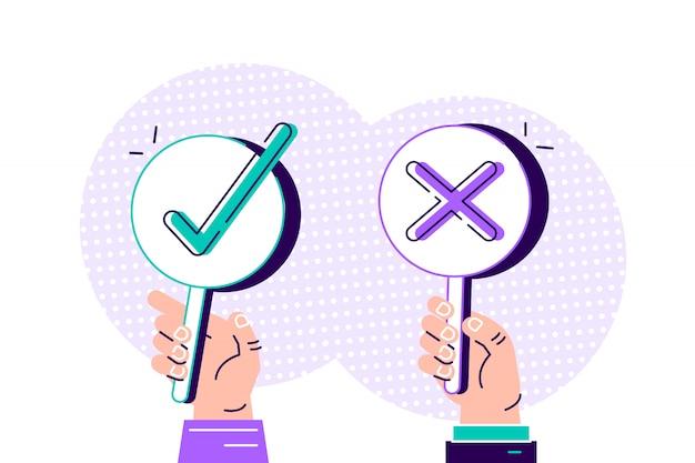 Dibujos animados modernos de sí no banner en mano humana sobre fondo blanco. pregunta de prueba. elección vacilar, disputa, oposición, elección, dilema, oponente. concepto de ilustración de diseño de estilo plano.