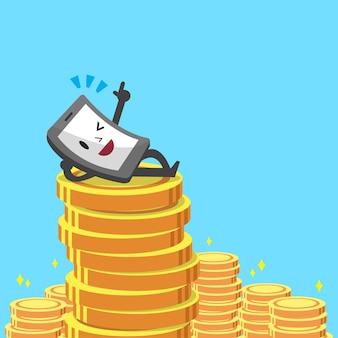 Dibujos animados de monedas de smartphone y dinero