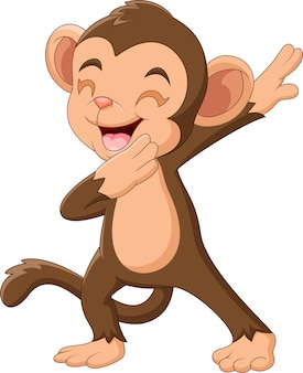 Dibujos animados mono feliz agitando la mano