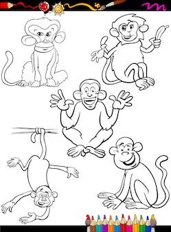 Dibujos animados monos para colorear libro