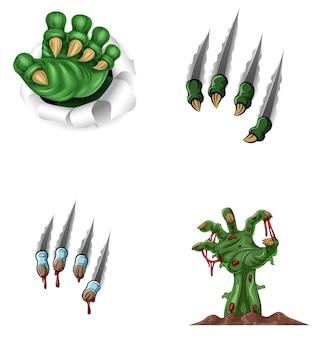Dibujos animados monstruo garra rasgando a través de