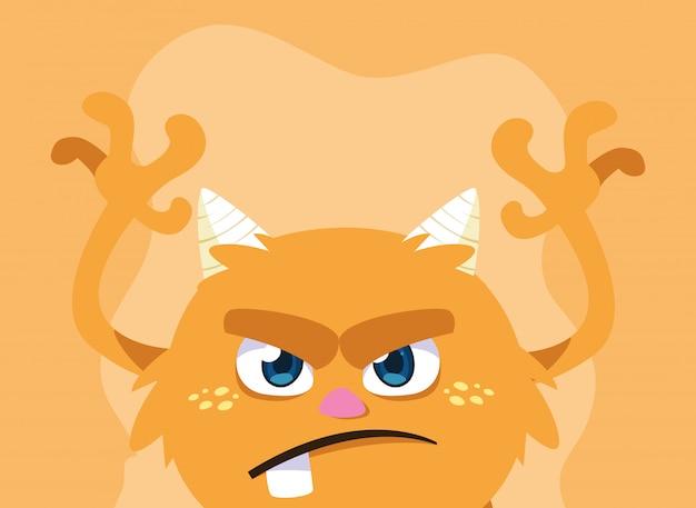 Dibujos animados de monstruo naranja