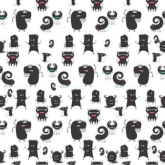 Dibujos animados moster silueta de patrones sin fisuras