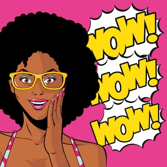 Dibujos animados de mujer afro negra retro con gafas y vector de explosión wow
