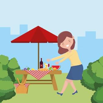 Dibujos animados de mujer con diseño de picnic, comida fiesta verano ocio al aire libre saludable primavera almuerzo y comida tema
