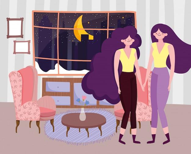 Dibujos animados de mujer en el diseño de la sala de casa, tema de redes humanas y sociales de personas femeninas