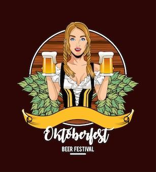 Dibujos animados de mujer con diseño tradicional de vasos de cerveza y tela, tema de celebración y festival de oktoberfest en alemania