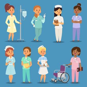 Dibujos animados mujer doctores enfermeras niña reunión hospital personas enfermeras personaje femenino uniforme enfermeras