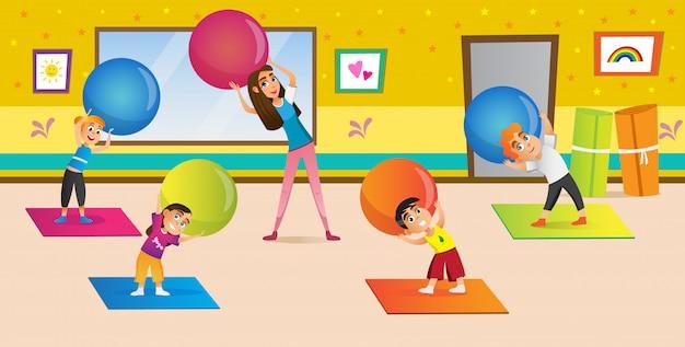 Dibujos animados mujer enseñando a los niños a estirarse en el gimnasio