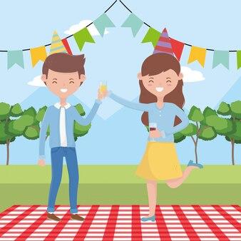 Dibujos animados de mujer y hombre con diseño de picnic, fiesta de comida verano ocio al aire libre saludable primavera almuerzo y comida tema
