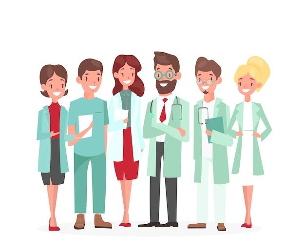 Dibujos animados mujer hombre médicos personajes médico especialista, terapeuta, médico con estetoscopio