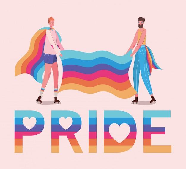 Dibujos animados de mujer y hombre con texto de orgullo lgtbi y diseño de bandera