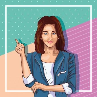 Dibujos animados de mujer joven de arte pop