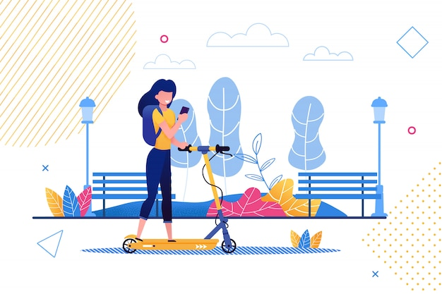Dibujos animados mujer montando scooter con teléfono móvil.