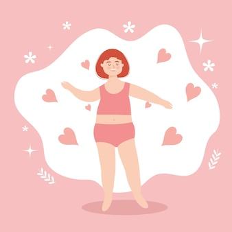 Dibujos animados de mujer con pelo rojo y corazones en ropa interior