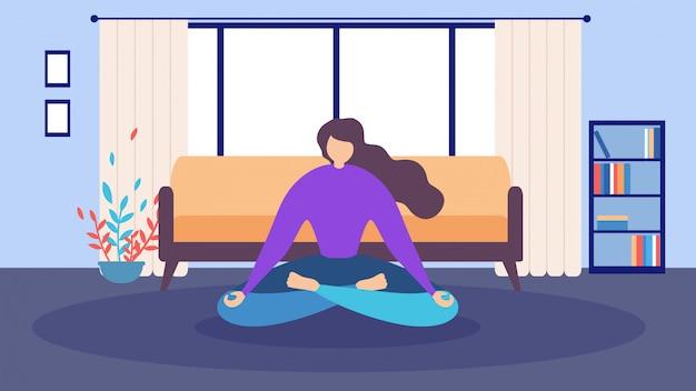 Dibujos animados mujer sentada ojos cerrados casa meditación