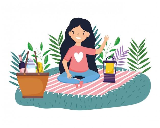 Dibujos animados mujer teniendo picnic
