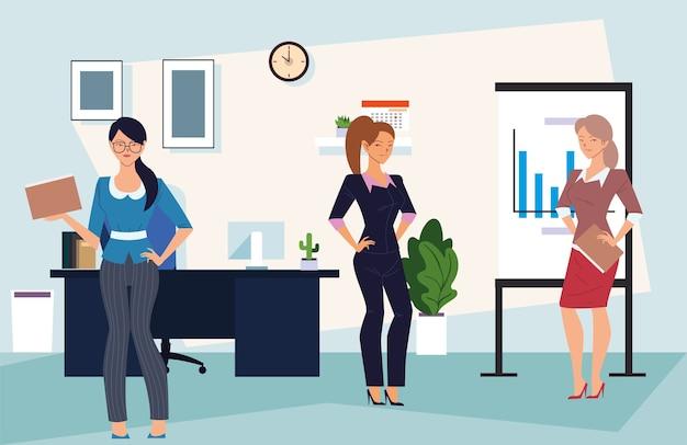 Dibujos animados de mujeres empresarias con archivos en la oficina con diseño de tablero infográfico, gestión empresarial y tema corporativo