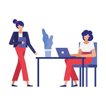 Dibujos animados de mujeres empresarias en el escritorio, la oficina y la gestión