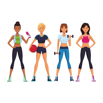 Dibujos animados de mujeres de fitness
