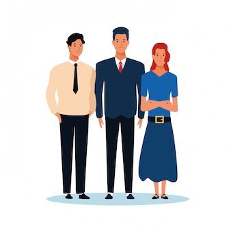 Dibujos animados mujeres y hombre de pie