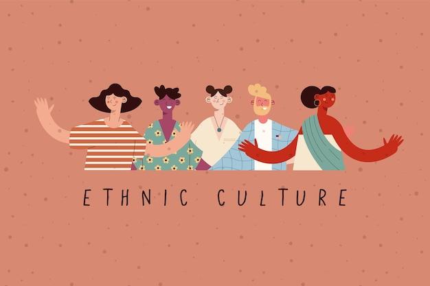 Dibujos animados de mujeres y hombres de cultura étnica.
