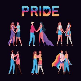 Dibujos animados de mujeres y hombres con disfraces y diseño de texto de orgullo lgtbi, día del orgullo, amor, orientación sexual e ilustración del tema de identidad