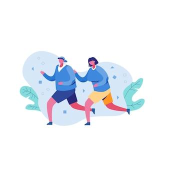 Dibujos animados mujeres y hombres disfrutando de actividad cardiovascular corriendo ilustración plana al aire libre
