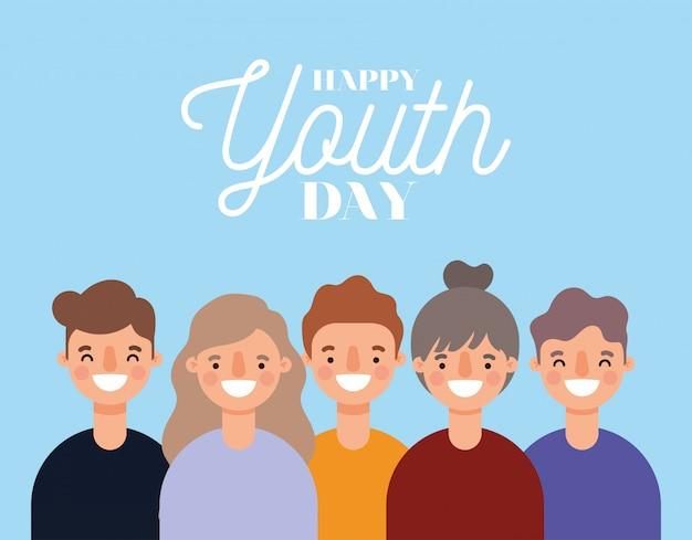 Dibujos animados de mujeres y hombres sonriendo de feliz día de la juventud