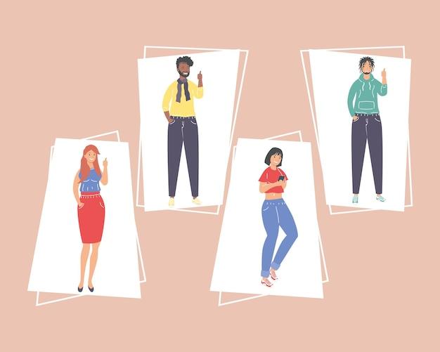 Dibujos animados de mujeres y hombres