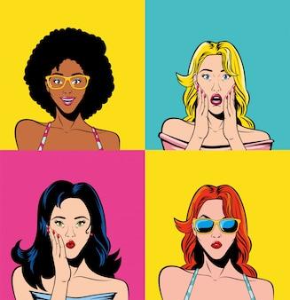 Dibujos animados de mujeres retro dentro de marcos