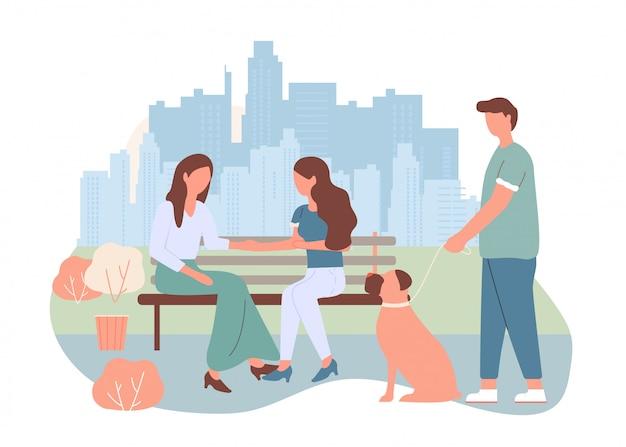 Dibujos animados mujeres sentarse banco ciudad calle hombre caminar perro