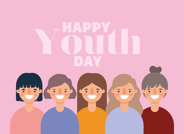 Dibujos animados de mujeres sonriendo de feliz día de la juventud