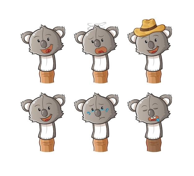 Dibujos animados de muñeca de dedo de koala.
