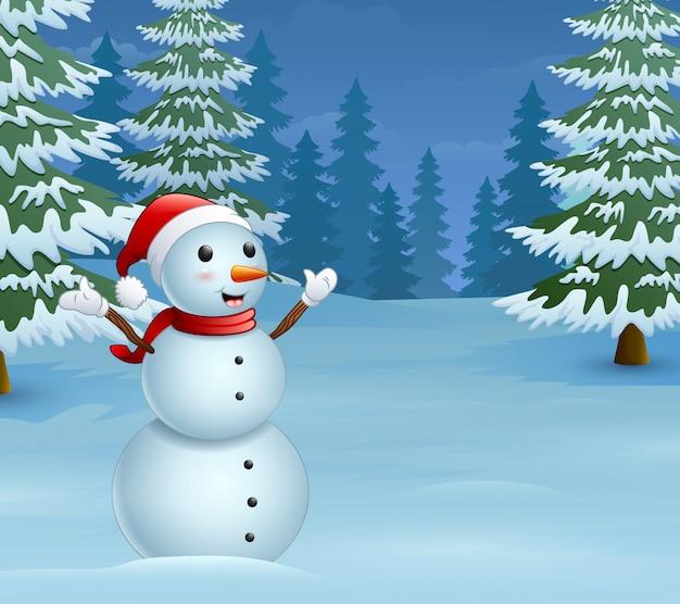 Dibujos animados de muñeco de nieve de navidad con pinos nevados