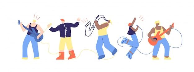Dibujos animados músico personas personajes plana festival