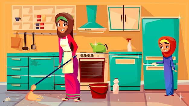 Dibujos animados musulmán khaliji madre, hija en hijab limpieza cocina juntos