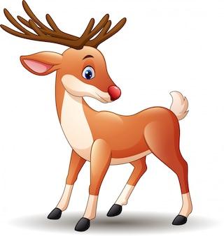 Dibujos animados nariz roja ciervos