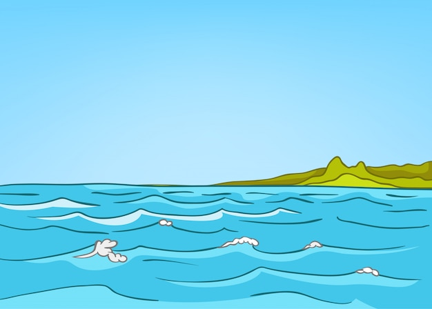 Dibujos animados naturaleza paisaje mar