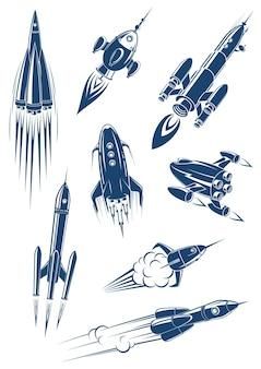 Dibujos animados de naves espaciales y cohetes en el espacio aislado sobre fondo blanco.