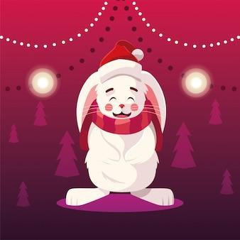 Dibujos animados de navidad de conejo con gorro y bufanda