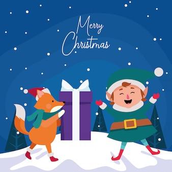 Dibujos animados de navidad duende y zorro con caja de regalo