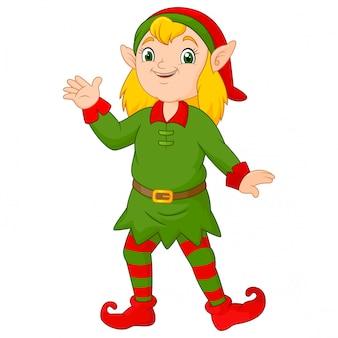 Dibujos animados navidad niña duende saludando