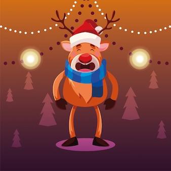 Dibujos animados de navidad de renos con gorro y bufanda